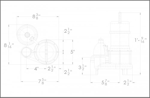BA33i+ Sump Pump Dimensions