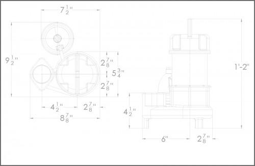 BA50i+ Sump Pump Dimensions