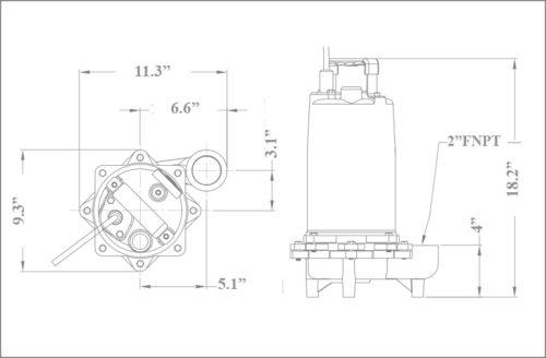 ES50 Efffluent Pump Dimensions