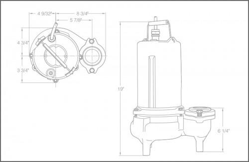 SHS50 High Head Sewage Ejector Pumps Dimensions