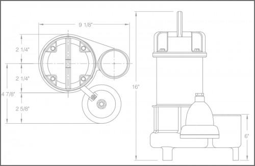 SHV40i+ Sewage Ejector Pump Dimensions
