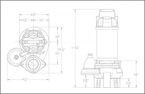SHV75i Sewage Ejector Pump Dimensions