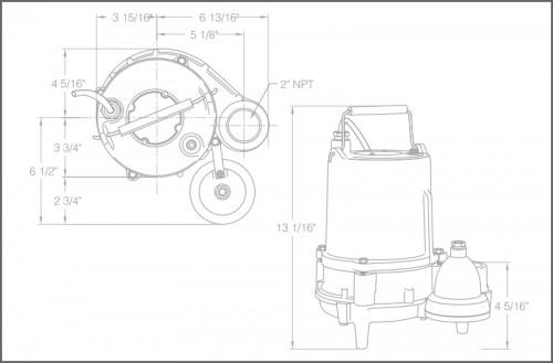 SPH40i Sewage Ejector Pump Dimensions