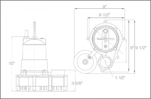WC33i+ Sump Pump Dimensions